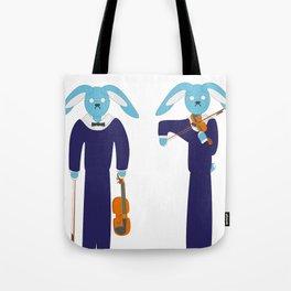 Blue hare violinist Tote Bag
