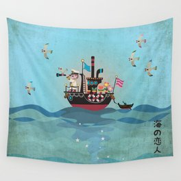 Sea Lover Retro Japanese illustration Wall Tapestry