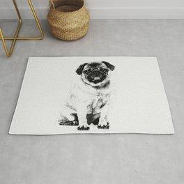 Pug dog Sketch Digital Art Rug
