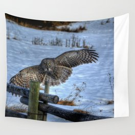 Great Grey Arriving Wall Tapestry