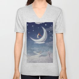 City of children on  fantastic clouds in the sky Unisex V-Neck