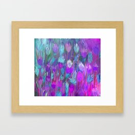 Field of Flowers in Purple, Blue and Pink Framed Art Print