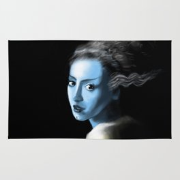 Girl With Lightning Trace Streaks On The Side Of Her Head Rug