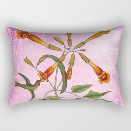Hummingbird with Trumpet Vine, Vintage Natural History Collage Rectangular Pillow