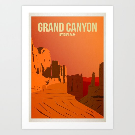 Grand Canyon National Park - Travel Poster -  Minimalist Art Print by harknettprints