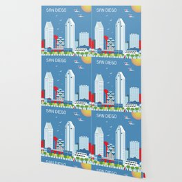 San Diego, California - Skyline Illustration by Loose Petals Wallpaper