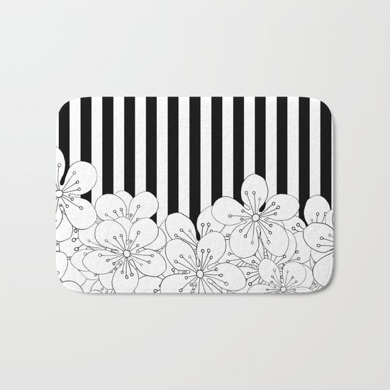 Cherry Blossom Stripes - In Memory of Mackenzie Bath Mat