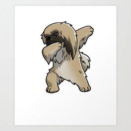 Funny Dabbing Pekingese Dog Dab Dance Art Print
