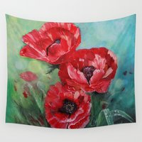 fairies Wall Tapestries featuring The Fairies Poppies by Stephanie Koehl
