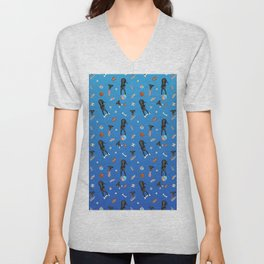 Cute Black Puppies with Toys - Blue Gradient Theme Unisex V-Neck