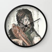 daryl dixon Wall Clocks featuring Daryl Dixon by Eric Dockery