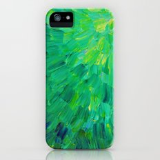 SEA SCALES in GREEN - Bright Green Ocean Waves Beach Mermaid Fins Scales Abstract Acrylic Painting iPhone (5, 5s) Slim Case