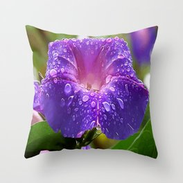 Morning Glory Petals and Dew Drops Vector Throw Pillow