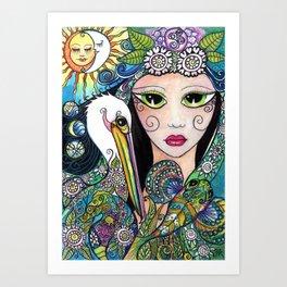 Mermaid & her Tattooed Pelican. Art Print