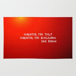 GREATER THE TESTS GREATER THE BLESSINGS Rug