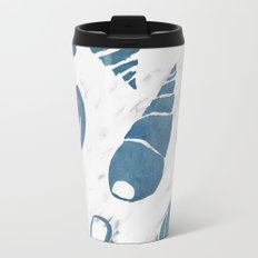 Azure South pacific sea shells - white marble Travel Mug