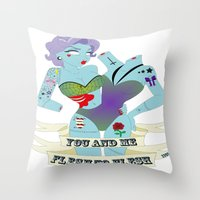in the flesh Throw Pillows featuring FLESH TO FLESH by 1101