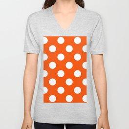 Large Polka Dots - White on Dark Orange Unisex V-Neck