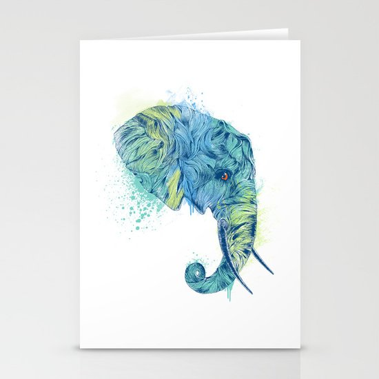 Elephant Head II Stationery Cards