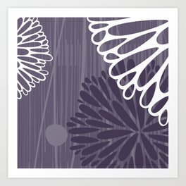 Abstract Floral in Purple by Friztin Art Print