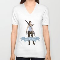 lara croft V-neck T-shirts featuring Fight Like a Girl: Lara Croft by Dorothy Leigh