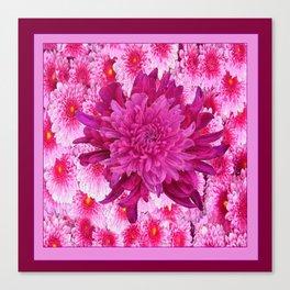 Oriental Style Purple & Pink Chrysanthemums Floral Garden Canvas Print