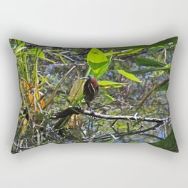 A Green heron in Corkscrew- horizontal Rectangular Pillow