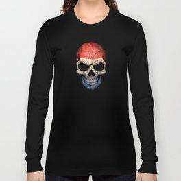 Dark Skull with Flag of The Netherlands Long Sleeve T-shirt