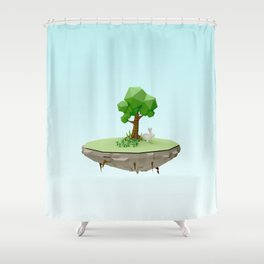 Low Poly Bunny Island Shower Curtain