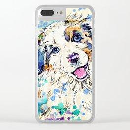 Aussie Pup - Australian Shepherd Dog Painting Clear iPhone Case