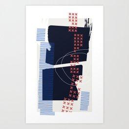 Something's Askew – Coral / Indigo / Blue Art Print
