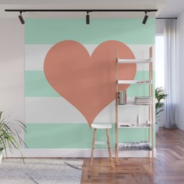 Large Heart on Stripes in Coral and Mint Wall Mural