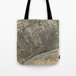 Vintage Map of Detroit Michigan (1904) Tote Bag