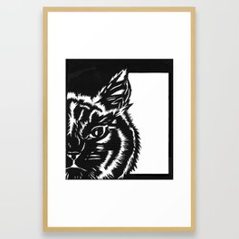 Paper Cat Framed Art Print
