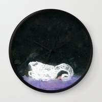 black swan Wall Clocks featuring Swan by YAZZIK