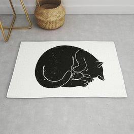 Sleeping Cat Linocut Print Rug