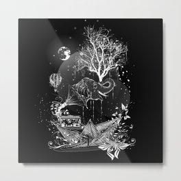 Surrealistic dream, paper boat, elephant, tree and gramophone Metal Print