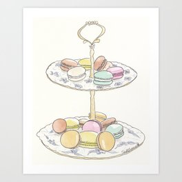 French Macarons Take a Stand, French Paris Pastry illustration Art Print
