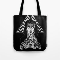 laura palmer Tote Bags featuring She's Filled with Secrets - Laura Palmer - Twin Peaks by Alice Rogers
