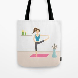 Yoga Girl In Extended Hand To Toe Pose Cartoon Illustration Tote Bag