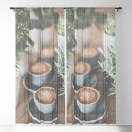 Latte + Plants Sheer Curtain