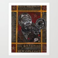 louis armstrong Art Prints featuring Louis Armstrong by Ray Stephenson