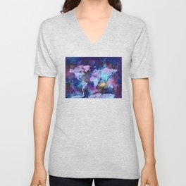 world map galaxy purple Unisex V-Neck