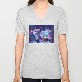 world map galaxy purple Unisex V-Neck