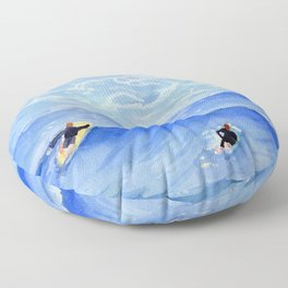 Getting ready to take this wave surf art Floor Pillow