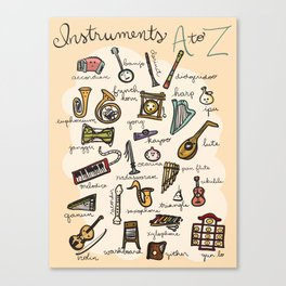Instruments A to Z Canvas Print