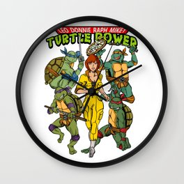 Classic Leo, Donnie, Raph, Mikey, and April O'Neil - Turtle Power! Wall Clock