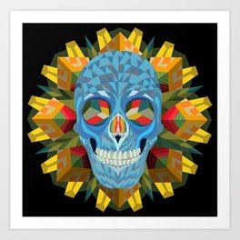 Blue Skull with Mandala Art Print