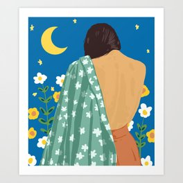 I Have Loved The Moon & The Stars Too Fondly To Be Fearful of The Night #illustration #painting Art Print