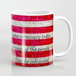Distressed American Flag and 2nd Amendment On White Bricks Wall Coffee Mug